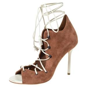 Malone Souliers Brown Suede And White Leather Savannah Ankle Wrap Sandals Size 36