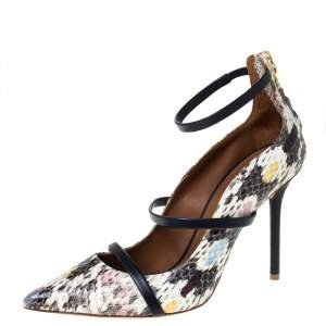 Malone Souliers Multicolor Python Robyn Ankle Strap Pumps Size 37