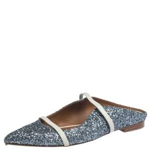 Malone Souliers Metallic Glitter Fabric Maureen Pointed Toe Flats Size 39.5