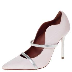 Malone Souliers Pink Canvas Maureen Pointed Toe Pumps Size 37
