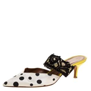 Malone Souliers x Emanuel Ungaro White/Black Polka Dot Satin And Lace Maisie Pointed Toe Mules Size 38.5