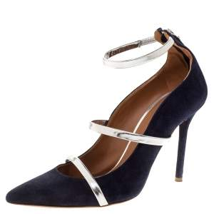 Malone Souliers Navy Blue Suede Robyn Ankle Strap Pumps Size 37