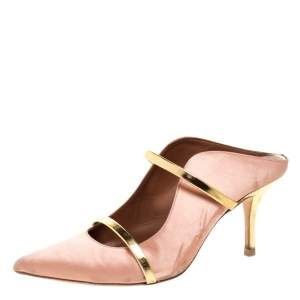 Malone Souliers Beige Satin and Gold Trim Leather Maureen Pointed Toe Mules Size 39