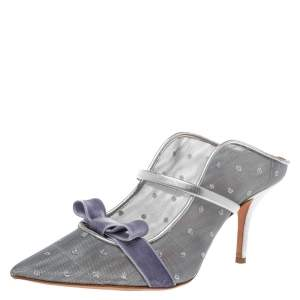 Malone Souliers By Roy Luwolt Silver Mesh And Velvet Marguerite Bow Mules Size 39