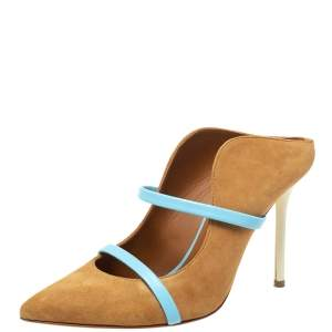 Malone Souliers Brown/Blue Suede Maureen Pointed Toe Pumps Size 37