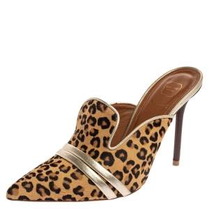 Malone Souliers Brown Leapord Print Pony Hair Hayley Mules Size 38.5