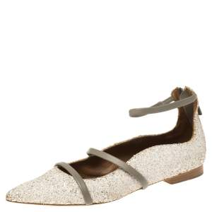 Malone Souliers Grey/Off White Leather and Glitters Robyn Pointed Toe Flats Size 36