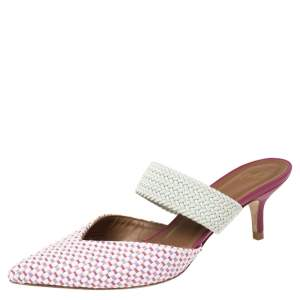Malone Souliers Multicolor Woven Raffia and Cord Maisie Pointed Toe Mules Size 38.5