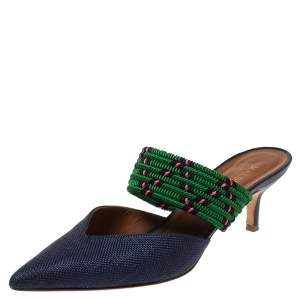 Malone Soulider Blue/Multicolor Straw and Chord Maisie Pointed Toe Mules Size 38
