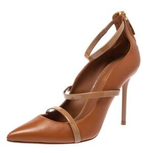 Malone Souliers Brown/Beige Leather Robyn Pumps Size 37