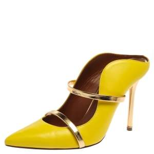 Malone Souliers Yellow Leather Maureen Mules Size 38