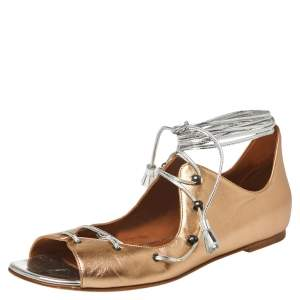 Malone Souliers Metallic Beige Leather Savannah Ankle Wrap Flats Size 39