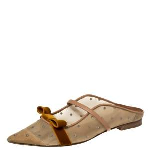 Malone Souliers By Roy Luwolt Brown/Beige Mesh And Velvet Marguerite Bow Mules Size 38.5