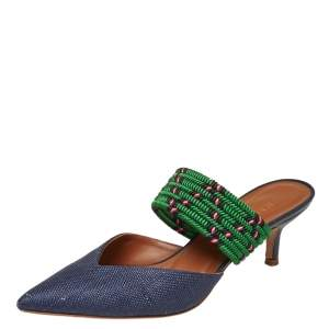 Malone Souliers Blue/Green Raffia And Fabric Maisie Mule Size 36.5