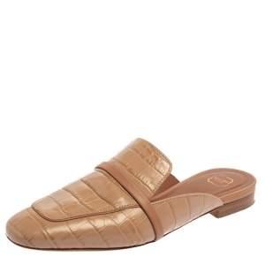 حذاء سلايد فلات مالون سولييه جادا جلد نقشة التمساح بيج مقاس 37
