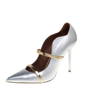 Malone Souliers Silver/Gold Leather Maureen Pointed Toe Pumps Size 39.5