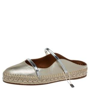 Malone Souliers Metallic Gold/Silver Leather Sienna Flat Espadrille Mules Size 36