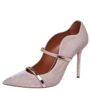 Malone Souliers Grey Velvet Maureen Pointed Toe Pumps Size 40
