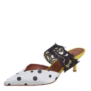 Malone Souliers by Emanuel Ungaro White/Black Polka Dot Satin And Lace Pointed Toe Mules Size 37