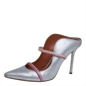 Malone Souliers Silver Leather and Python Maureen Mules Size 36