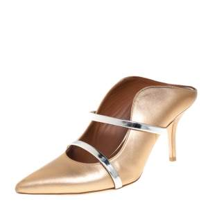 Malone Souliers Metallic Gold Leather Maureen Mule Pumps Size 38.5