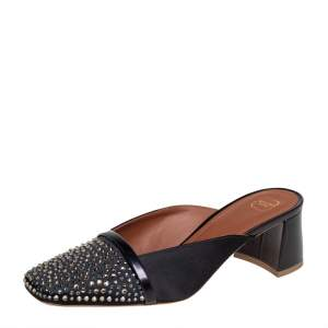 Malone Souliers Black Satin Carmen Crystal Embellished Mules Size 37.5