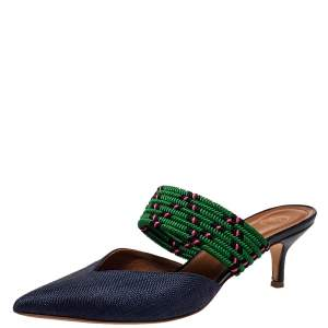 Malone Souliers by Roy Luwolt Blue/Green Canvas And Raffia Maisie Pointed Toe Mules Size 39