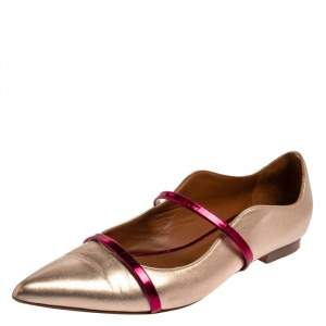 Malone Souliers Metallic Gold Leather Maureen  Ballet Flats Size 41.5