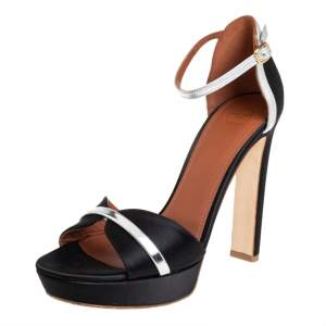 Malone Souliers Black/Silver Satin And Patent Leather Miranda Ankle Strap Sandals Size 39