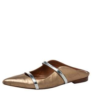 Malone Souliers Sliver/Gold Leather Maureen Pointed Toe Flats Size 37.5