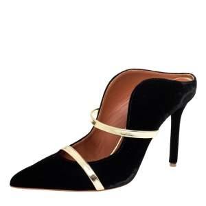 Malone Souliers Black Velvet Maureen  Mule Sandals Size 37.5