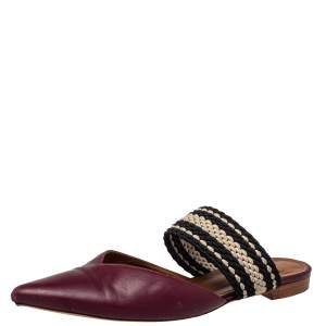Malone Souliers Burgundy Leather And Fabric Maisie Pointed Toe Flat Mules Size 40