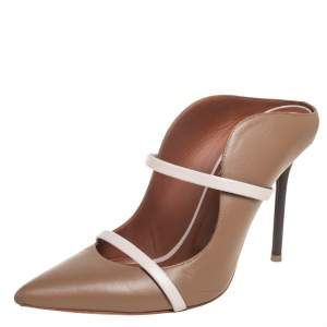 Malone Souliers Brown/Beige Leather Maureen Pointed Toe Mules Size 40