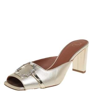 Malone Souliers Gold Leather Embellished Square Toe Mule Sandals Size 38.5