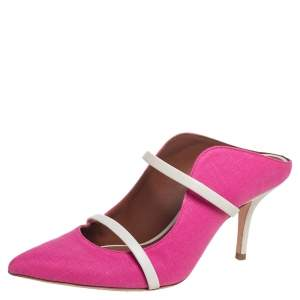 Malone Souliers Pink Canvas Maureen Pointed Toe Mule Sandals Size 37.5