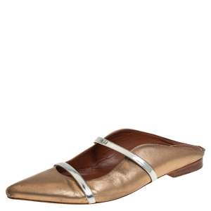 Malone Souliers Gold Leather Maureen Mules Sandals Size 38.5