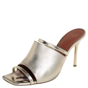 Malone Souliers Metallic Gold Leather Laney Slide Sandals Size 39.5