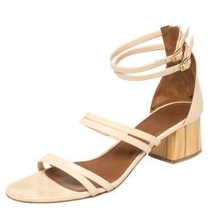 Malone Souliers Cream Leather Ankle Strap Sandals Size 38.5
