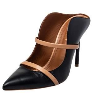 Malone Souliers Black/Beige Leather Maureen Mule Pumps Size 36