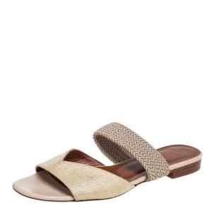 Malone Souliers Cream Woven Raffia And Fabric Rodena Flat Slides Size 37