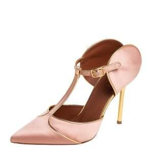 حذاء كعب عالي مالون سولييه أموجين ساتان ذهبي/ بيج مقاس 36.5