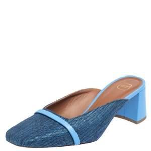 Malone Souliers Blue Raffia Carmen Crystal Embellished Mules Size 40