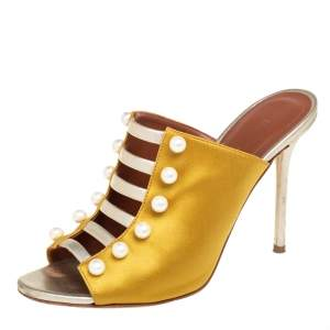 Malone Souliers Yellow/Gold Leather And Satin Zada Mule Sandals Size 38