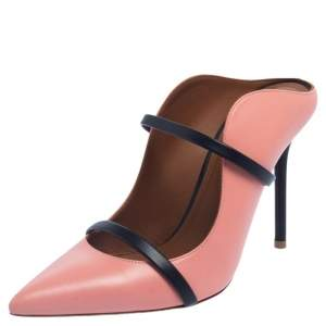 Malone Souliers Pink/Blue Leather Maureen Pointed Toe Mules Size 37.5