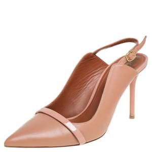 Malone Souliers Beige Leather Marion Pointed Toe Slingback Pimps Size 38.5