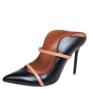 Malone Souliers Black/Beige Leather Maureen Pointed Toe Mules Size 38