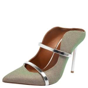 Malone Souliers Green/Silver Leather And Glitter Maureen Sandals Size 38