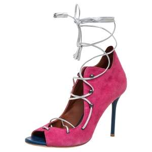 Malone Souliers Pink Suede And Blue Leather Savannah Ankle Wrap Booties Size 37.5