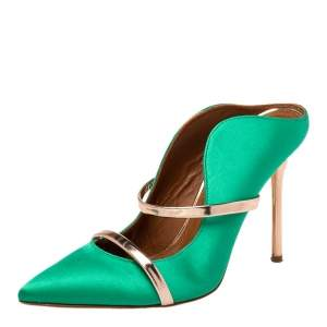 Malone Souliers Green/Gold Satin And Patent Leather Maureen Sandals Size 38.5