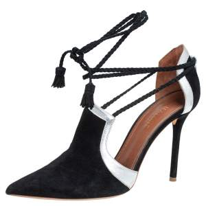 Malone Souliers Black/Silver Suede And Leather Haji Pumps Size 37